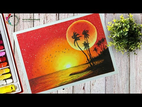 How to draw a Beautiful Sunset and Red Moonlight Scenery With Oil Pastels Step by step