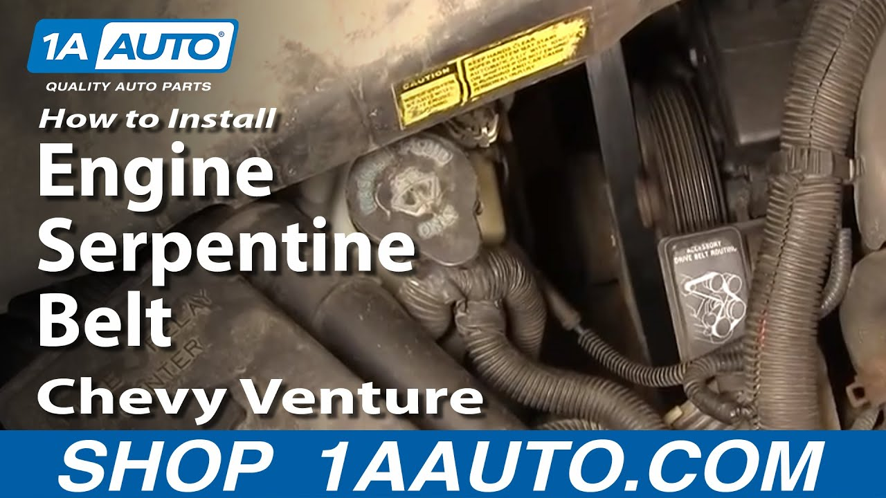 How To Install Replace Engine Serpentine Belt Chevy Venture Montana 94 Oldsmobile Silhouette Wiring Diagram 34l 97 98 1aautocom Youtube