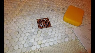 Installing a Hexagonal Mosaic Marble  shower Floor, step by step