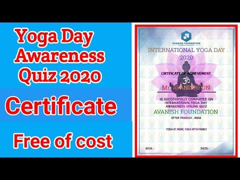 Yoga Day Awareness Quiz 2020 Free Of Cost Certificate Avanishfoundation Yogaday Youtube