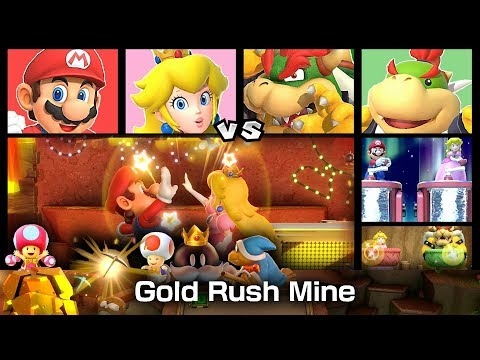 Super Mario Party Gold Rush Mine ◆ Mario and Peach vs  Bowser and Bowser Jr.  #3