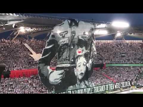 Legia Warsaw fans display Anti-Nazi Banner