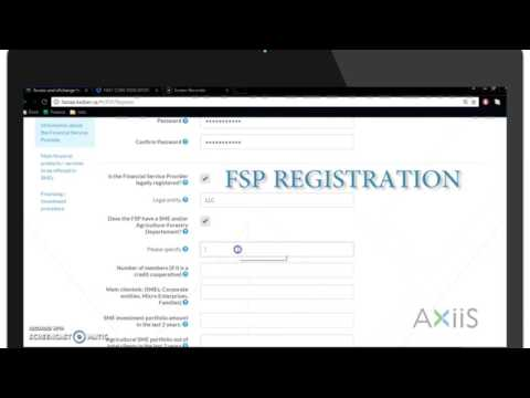 How to Register Financial Service Providers (FSP) on AXiiS