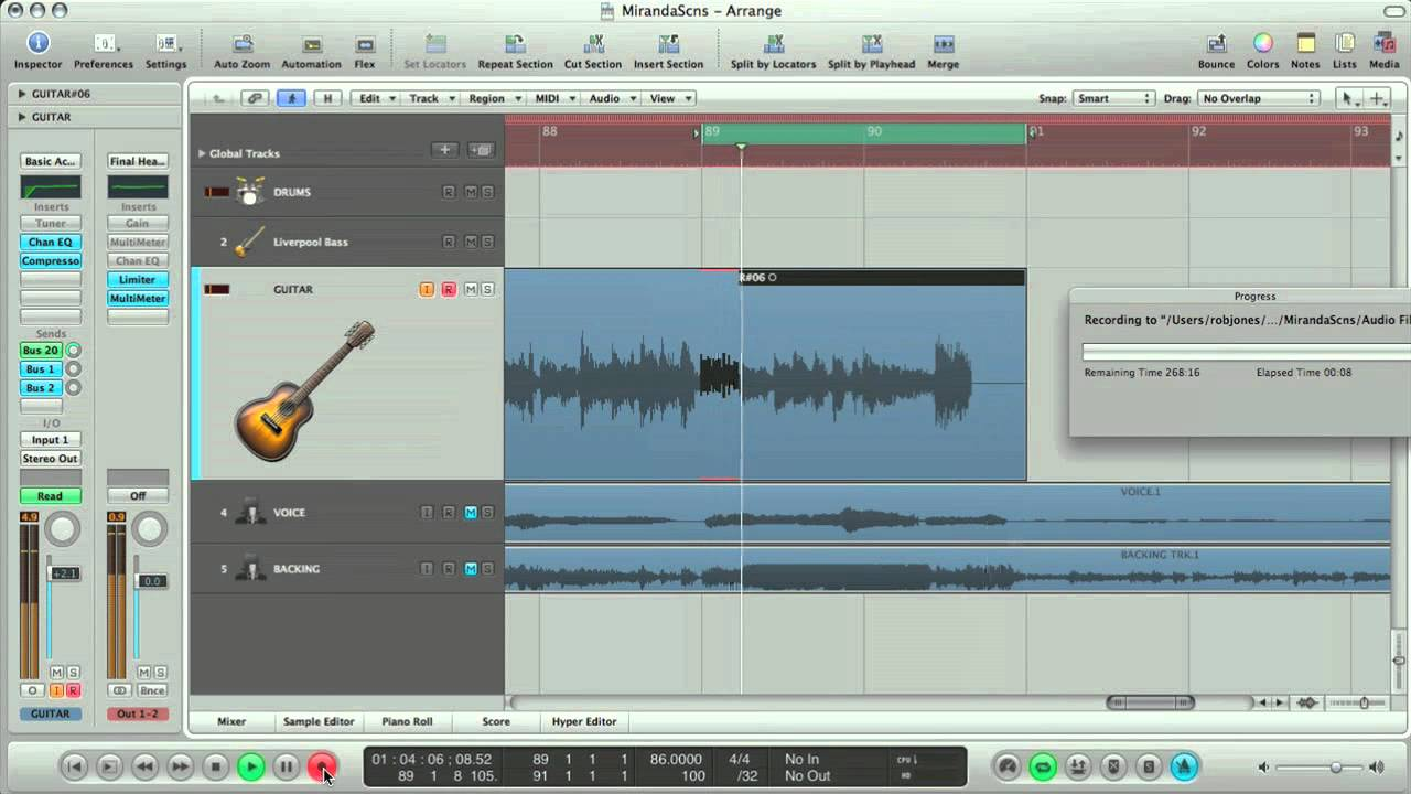 How to record a song in Logic Pro 9 part 1