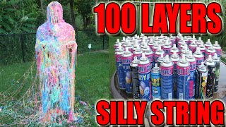 100 LAYERS (CANS) OF SILLY STRING! - 100 LAYERS CHALLENGE (CHALLENGES)