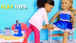Baby Doll Doctor Toys! Play American Girl Doll and Our Generation Doctor Check up!