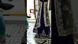 Blue bridal trail gown with jacket(6)