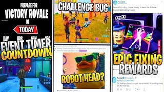 *NEW* Fortnite: Tiny Rubber Ducky Challenge BUG, Cattus vs Robot EVENT COUNTDOWN LEAK, & Giant Ducky