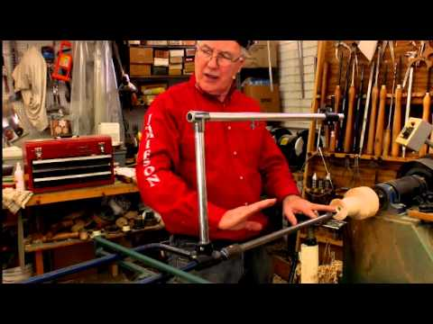 Turning a tulip shapped wood vessel using Lyle's captured boring bar and Laser measuring. Part 1