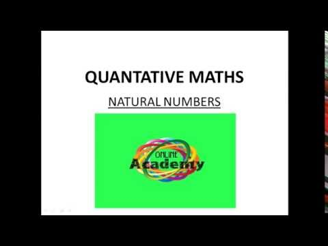 QUANTITAVE MATHS || NATURAL NUMBERS || ONLINEACADEMY