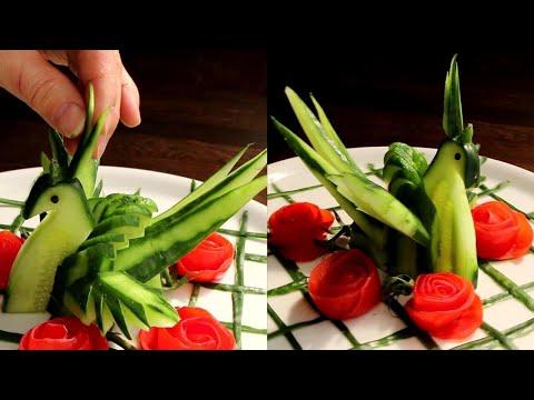 How to Make Cucumber Swan & Tomato Rose Carving Garnish