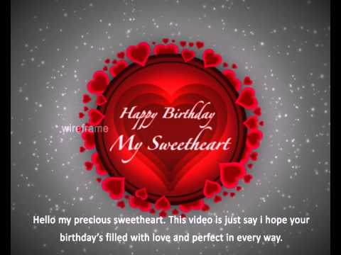 Happy Birthday My Sweetheart Youtube