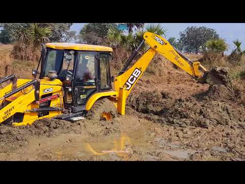 Jcb Vs Mud | Amazing Jcb Backhoe Driving In Pond With Skilled Backhoe Operator.