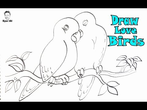 How to Draw Love Birds so Easy. Easy illustration technique|| Ripon's art .
