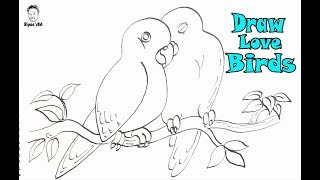 How to Draw Love Birds so Easy. Easy illustration technique|| Ripon