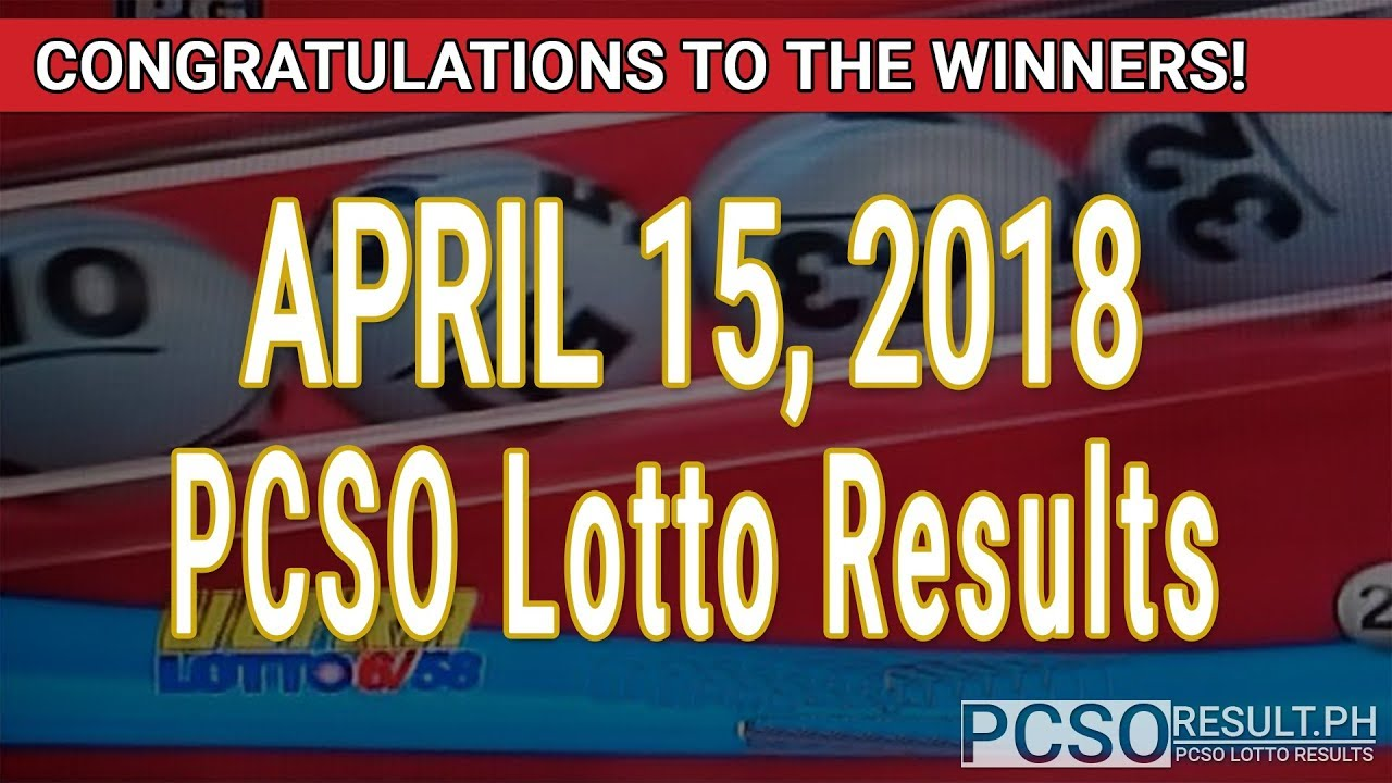 PCSO Lotto Results Today April 15, 2018 (6/58, 6/49, Swertres, STL & EZ2) - YouTube