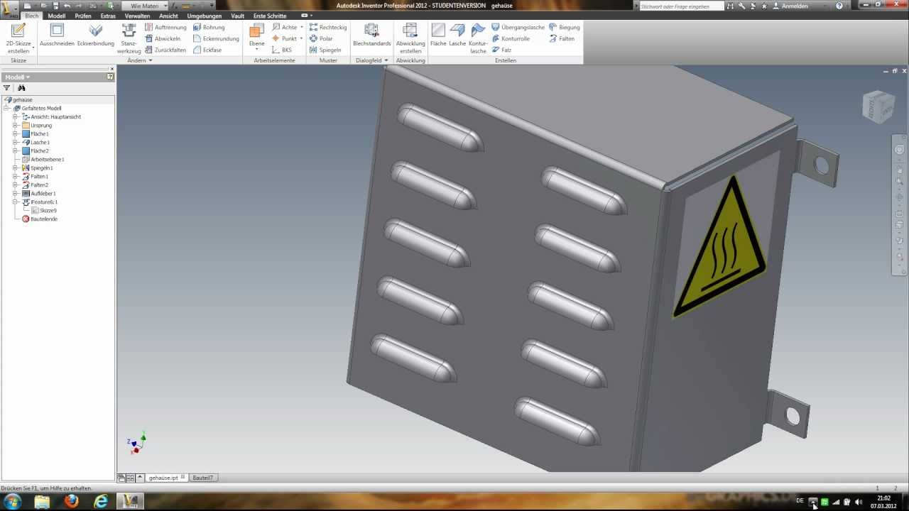 Inventor 2012 Sheet Metal Punch Tutorial Youtube
