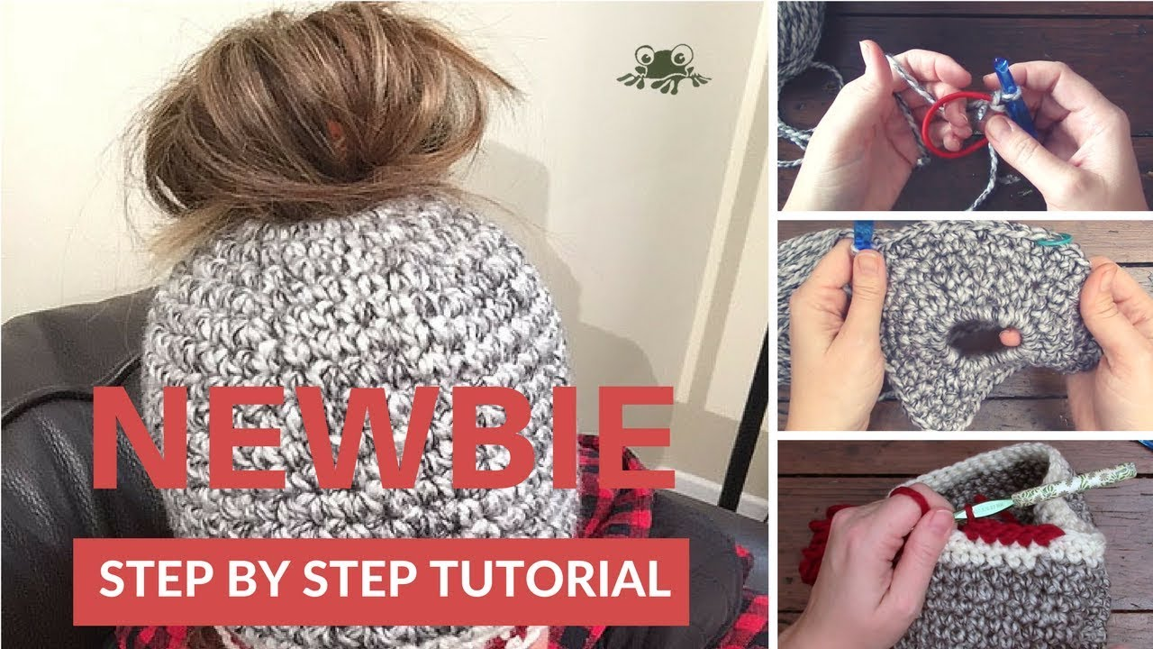 How to Crochet a Messy Bun Polytail Hat for Beginners - YouTube 315b629cf02
