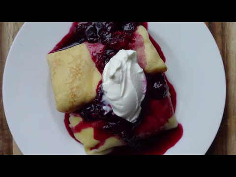 Ricotta-cheese Blintzes with Blueberry Sauce