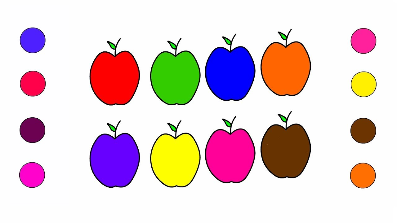 Apple Coloring Pages For Kids Children Toddlers Learn Colors With Apple Fruits Colouring Book Youtube