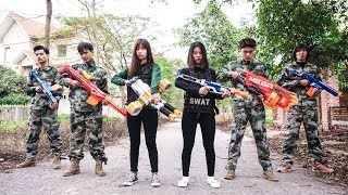 Nerf War S.W.A.T 😎 Army Girl Nerf Guns Enemy Group Hitman Rescue Girlfriend Nerf Movie