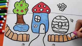 How To Draw and Coloring Ice Cream House Backpack for Kids. Coloring pages for children