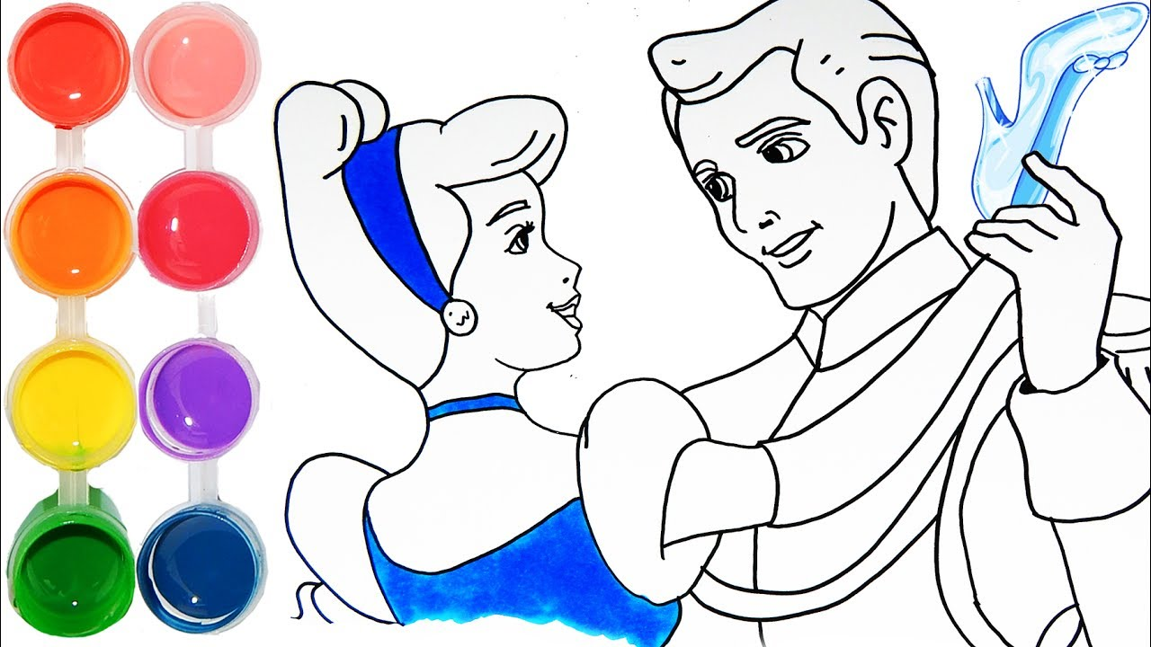How To Draw Color Cinderella Disney Princess Drawing Learning