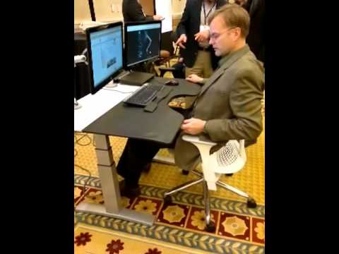 Herman Miller demo of ergonomic standing envelope desk YouTube