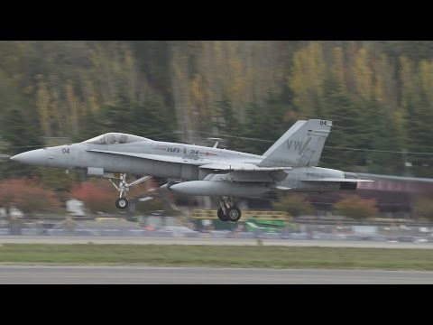 Two F/A-18A+ Legacy Hornets Take Off From Boeing Field