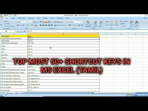 TOP MOST 50+ SHORTCUT KEYS IN MS EXCEL (TAMIL) | Kallanai YT