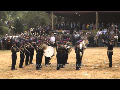 Naga Police band plays Indian National Anthem at Hornbill Festival