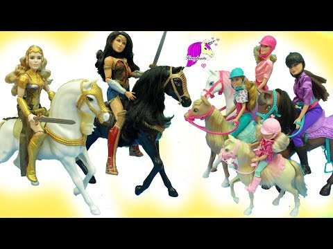 Barbie Horseback Riding Sisters + Wonder Woman Princess Diana Horse Doll Sets