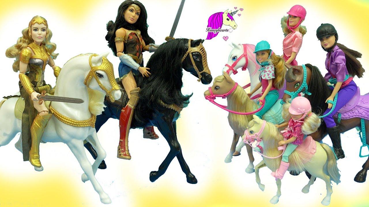 Barbie Horseback Riding Sisters + Wonder Woman Princess ...