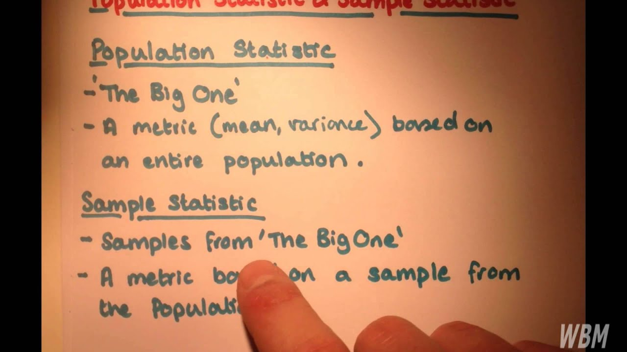 Difference Between Population Statistic and Sample Statistic - YouTube