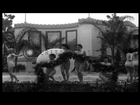 Burlesque dancer Sally Rand performing the Bubble Dance with her troupe in 1935...HD Stock Footage