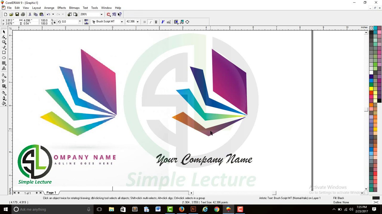 How To Make A Book In Coreldraw : Blue book logo in corel draw youtube