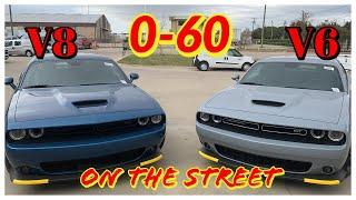 V6 (GT) vs V8 (RT) Challenger - 0-60 on the Street..