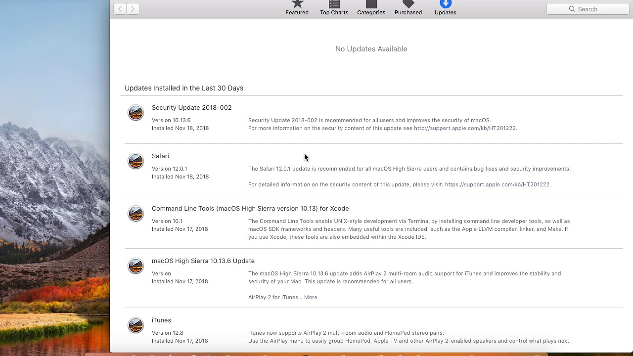 How to check for and install updates or see history of updates in Macbook  pro, iMac or Macbook Air