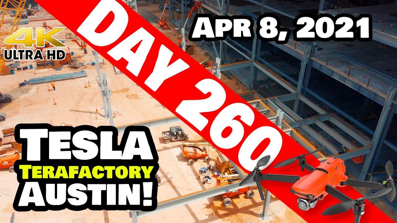 Tesla Gigafactory Austin 4K  Day 260 - 4/8/21 - Terafactory TX - BATTERY AREA STEEL GOING VERTICAL!