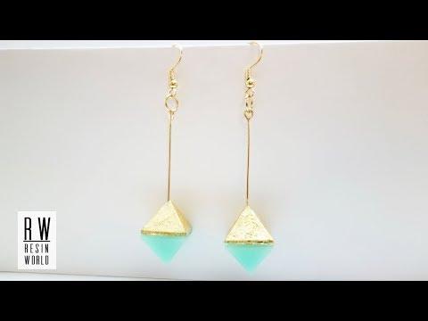 ダイヤモンド型レジンイヤリング DIY Diamond Shaped Resin Earrings 【100均レジン|Resin Jewelry】