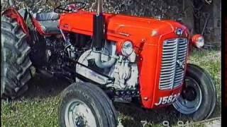 Tractors at a small parish fete.