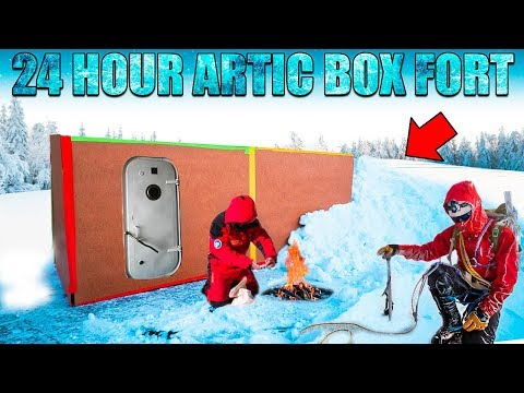 24 HOUR ARTIC BOX FORT CHALLENGE!! 📦❄️ -20 Degrees, Snow Fort & More!