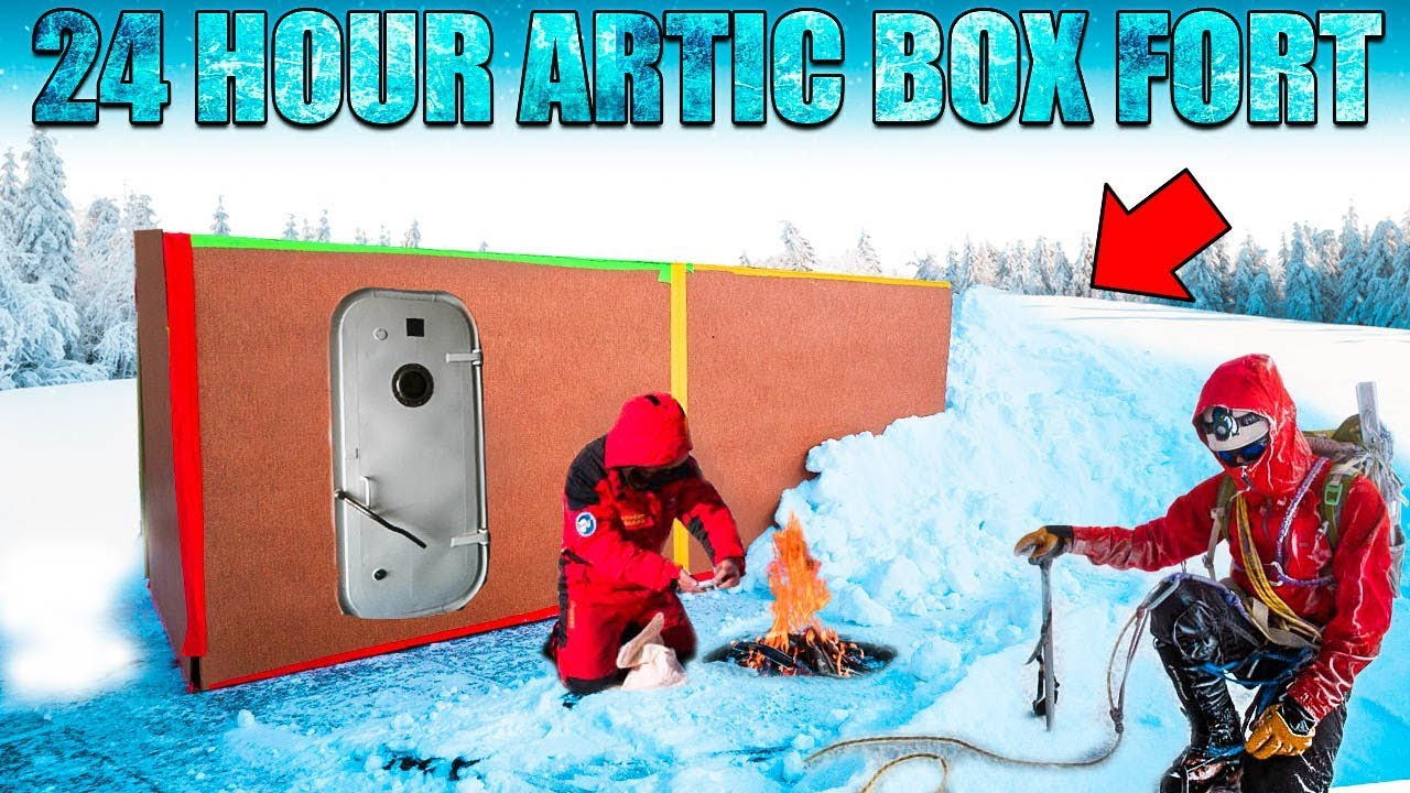 24-hour-artic-box-fort-challenge-20-degrees-snow-fort-more