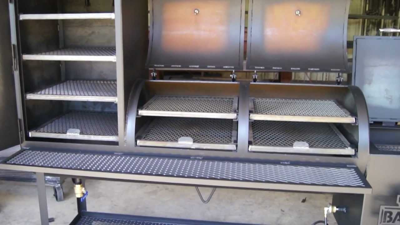 24''x48'' Custom offset pipe smoker with 24''x24''x36'' vertical smoke box  by Lone Star Grillz