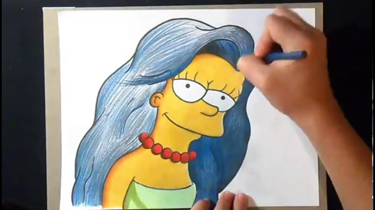 Dessin coloriage marge simpson les simpsons youtube - Les simspon tv ...