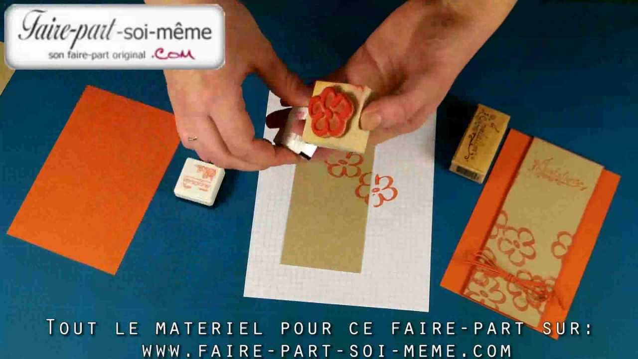 Populaire Carte d'invitation Orange Fleurie - YouTube MG67