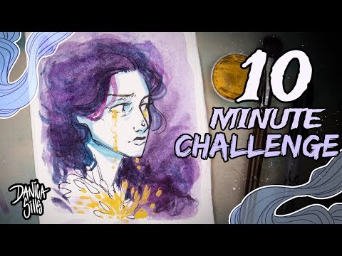 10 Minute Art Challenge! ♦ Finetec Gold, Watercolors, and a Sharpie