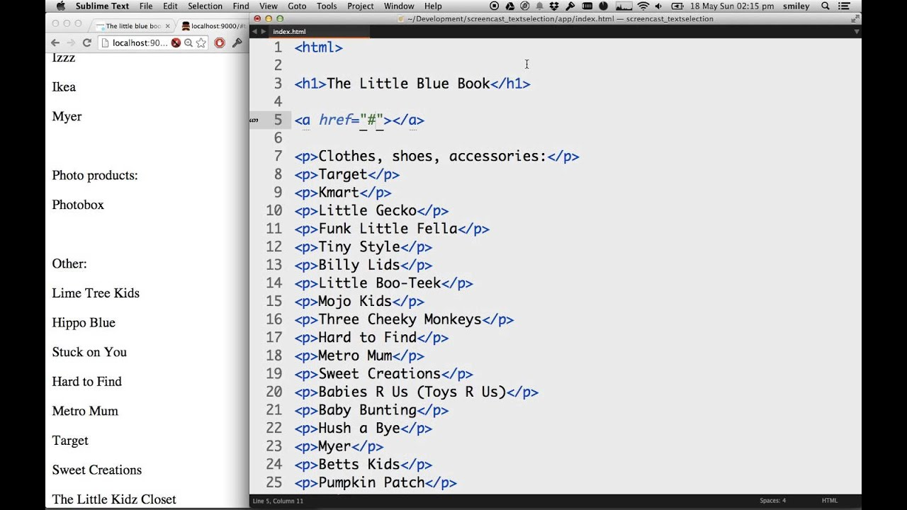 Table Of Contents In Html