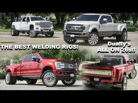 THREE BADASS WELDING RIGS! 2018 F350 DUALLY ON 26S + 2016 DENALI ON 24S!