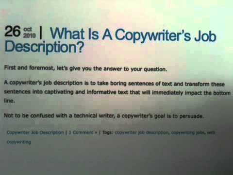 Copywriter Job Description - YouTube - copywriter job description